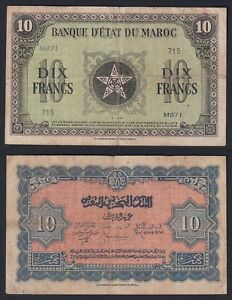 Marocco 10 francs 1944 BB/VF  C-10
