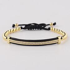 Luxury Men Women Macrame Bracelets White Micro Pave CZ Long Strip Bracelets