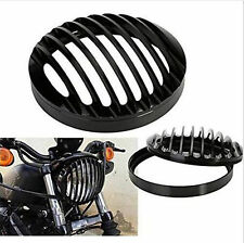5 3/4'' Black Aluminum Headlight Grill Cover For Harley Sportster Dyna Iron 883