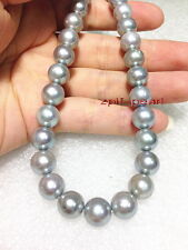 """AAAAA round real 18""""9-10mm NATURAL south sea blue red GRAY pearl necklace 14K"""