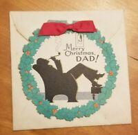 "VINTAGE  Round Unused Christmas Card for Dad Retro 5""x5"""