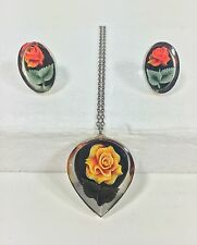 Vintage LUCITE Encased Yellow Orange Rose Flower Pendant and Clip Earring Set