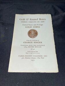 Gold & Enamel Boxes, Coins 1950 Parke-Bernet Auction Catalog GEORGE SINGER