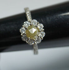 1.30tcw natural Yellow round Rose cut diamond Ring, sterling silver Wedding Ring