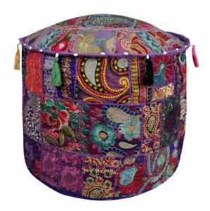 Round Pouf Ottoman Cover Vintage Patchwork Indian Pouffe Cover Peach Footstool