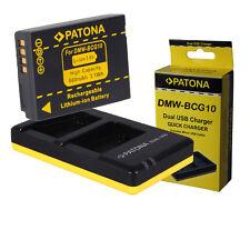 Caricabatteria Dual + Batteria DMW-BCG10 E per Panasonic Lumix DMC-TZ8 DMC-ZX1