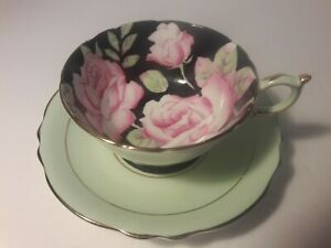 Paragon Cup and Saucer Light Green and Black with Pink Roses Double Warrant