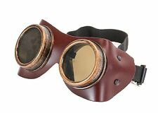 Brown Leather Goggles Steampunk Black Motorcycle Flying Vintage Pilot Biker