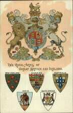 Royal Coats of Arms Great Britain & Ireland c1910 Embossed Postcard