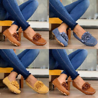 Women Slip On Flat Loafers Ladies Casual Flower Pumps Plimsolls Comfy Shoes Size
