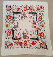 Vintage 1950's Tablecloth  Dutch Print Mid Century Retro