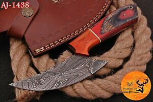 HAND FORGED DAMASCUS STEEL HUNTING KNIFE WITH WOOD HANDLE - AJ 1438