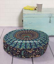 "20""Blue Indian Mandala Floor Pillow Large Bohemian Round Meditation Ottoman Pouf"