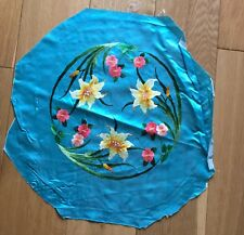 Vintage Chinese Azure Blue Silk Round Floral Embroidery Embroidered Panel