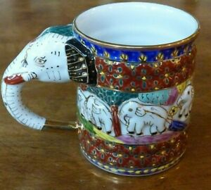 Elephant Mug Hand Painted, Thailand - Beautiful Collector Mug - Embossed