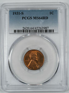 1931 S LINCOLN WHEAT CENT PENNY 1C PCGS CERTIFIED MS 64 RED MINT UNC (987)