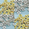 Wholesale 100pc Gold/Silver Plated Crystal Rhinestone Rondelle Spacer Beads AA