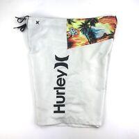 "Hurley Board Shorts White Size Unknown Waist 36"" Swim Trunks Surf Beach Sunset"