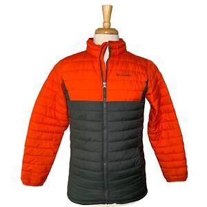 Columbia Thermal Coil puffer jacket Boys XL Orange Gray