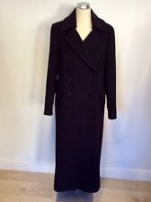 PLANET BLACK DOUBLE BREASTED WOOL & CASHMERE BLEND LONG COAT SIZE 14