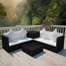 vidaXL Garden Lounge Set with Cushions 4 Piece Poly Rattan Black Sofa Table