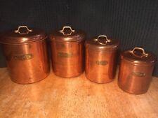 Vtg Mid Century Retro Copper Set of 4 Flour Sugar Coffee Tea Kitchen Canisters