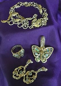 Lot Of .925, Bronze Jewelry-Chain, Butterfly Ring And Pendant, Earrings