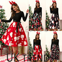 Ladies Christmas Dress Midi Swing Skater Belted Womens Long Sleeve Xmas Party