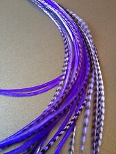Lot 10 Purple Grizzly Feathers Hair Extensions long thin striped Real PURP