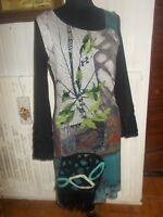 Robe longue Fourreau SAVE THE QUEEN Taille  XL 40/42 noir imprimé doublé