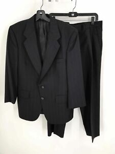 Vintage Halston Black Pure Wool Men's Striped Single-Breasted Pleated 2-Pc Suit
