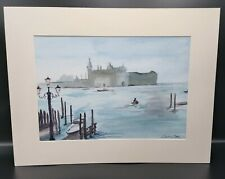 Venice - Signed Original Watercolour By Caroline Goss - Matted - Signed - Blues