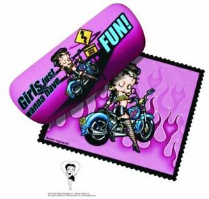 Betty Boop Biker Pink Eyeglass Case & Soft Cleaning Cloth,NEW #13637 Spoontiques
