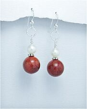 Pearl & Coral Silver Dangle Earrings, Red Coral & Pearl Sterling Silver Earrings