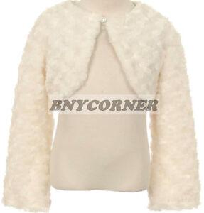 Ivory Fluffy Faux Fur Bolero Sweater Dress Satin Lining Flower Girls Fancy