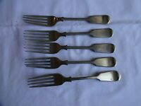 5 x Antique Fiddle Pattern Dessert Forks Mixed Makers Length 7""