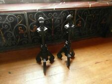 Antique Pair Of Blacksmith Wrought Iron Fire Dogs Very Heavy Collect OX10