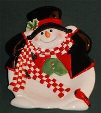 FITZ and FLOYD HOLLY JOLLY SNOWMAN SNACK/Canape Plate- MIB/NIB