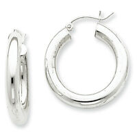 925 Sterling Silver Rhodium Plated 4mm x 25mm Polished Hinged Hoop Earrings