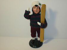 Byers Choice Retired 1996 Boy with Rare Knit Sweater Knickers & Skis