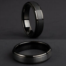Tungsten Carbide Ring Silver Brushed Black Inlay Wedding Band Men Women Jewelry