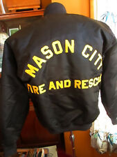 MEDIUM True Vtg 80's BLACK SATIN NEBRASKA FIRE RESCUE STITCHED LETTER Jacket USA