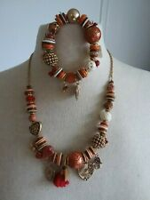 Accessorize Ethnic Look Orange Red Gold Charm Necklace & Bracelet Set Gift