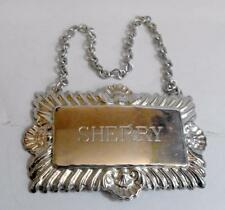 Vintage brewerania silver plate Sherry bottle or decanter label with chain 11381