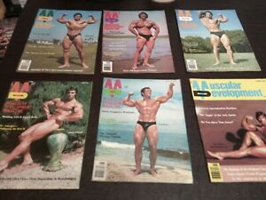 LOT OF 6 1976 TO 1978 MUSCULAR DEVELOPMENT MAGAZINES bodybuildng fitness health