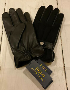 New Polo Ralph Lauren Mens Black Touch Thinulate Sheep Leather Palm Gloves Large