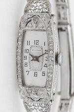 Antique 1920s $5000 BULOVA  Platinum .75ct Diamond Ladies Filigree Watch C & B