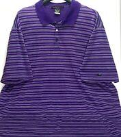 Nike Tiger Woods Dri-Fit Golf Shirt Polo Mens XXL Purple Striped Short Sleeve
