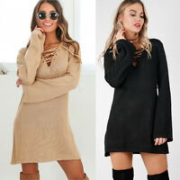 Winter Autumn Lace Up Women's Long Sleeve BodyCon Slim Knit Sweater Mini Dress