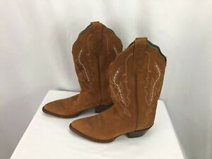 Nocona Women's Brown Suede Leather Cowboy Boots 6.5B